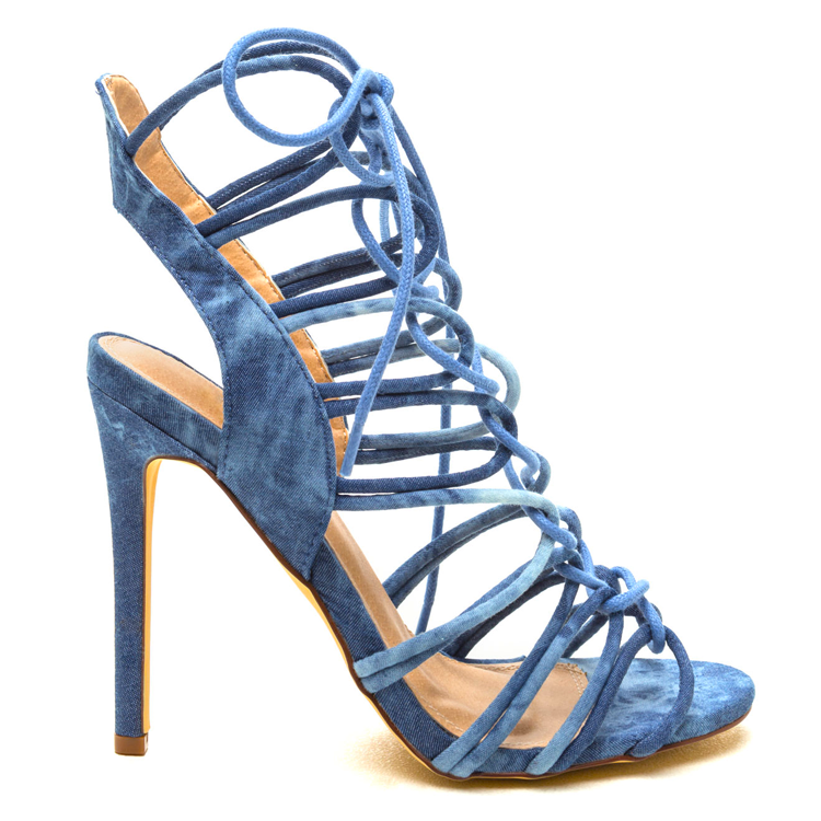 AMICA Lace Up Sandal in Limited Edition Denim | Amica Sexy Lace Up Sandal | Denim Strappy Sandals under $50 | Denim Heels | Denim Sandals | Strappy Heels