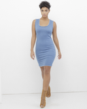 UNFINISHED BUSINESS STRETCH DENIM MINIDRESS