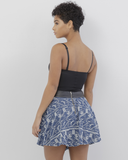 ALLIE Embroidered Denim Flare Skirt at FLYJANE | Black Leather and Denim Flare Skirt | Embroidered Denim Skirt | Flare Skirts | Fall Fashion at FLYJANE
