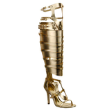 MORRISSETTE Knee-High Gladiator Sandal in Gold at FLYJANE