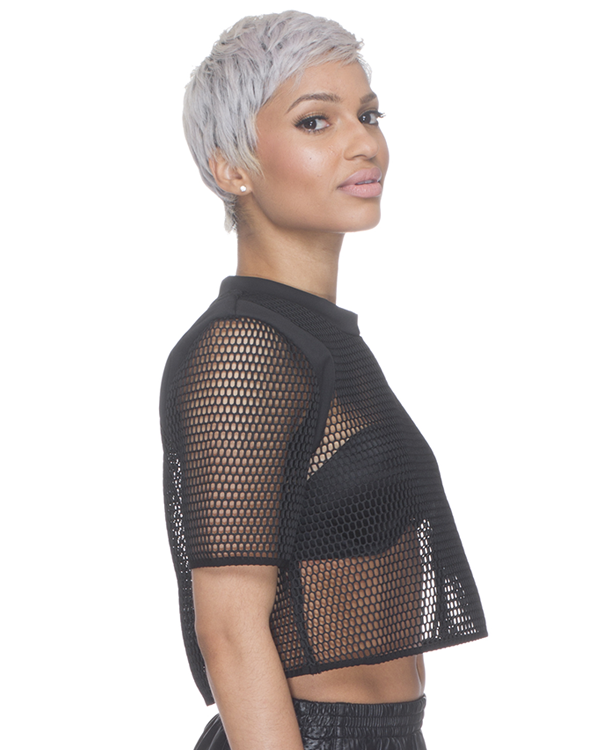 DONT MESH WITH ME Crop Top in Black at FLYJANE