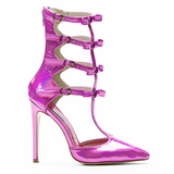 Red Kiss DRAMA QUEEN Gladiator Pump in Hologram Pink at FLYJANE