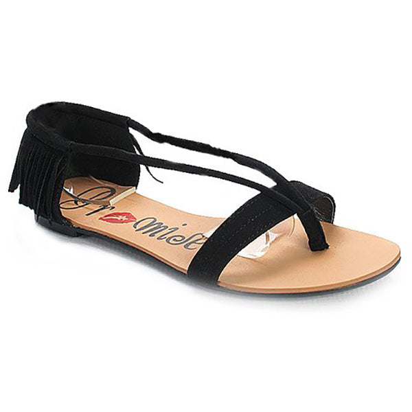 NOYA Fringe Sandals in Black at FLYJANE | Cute Cheap Sandals | Black Flats | Black Sandals | Gladiator Sandals | Black Mosiac Flat Sandals | Cute Sandals under $25 | Shop FLYJANE on Instagram