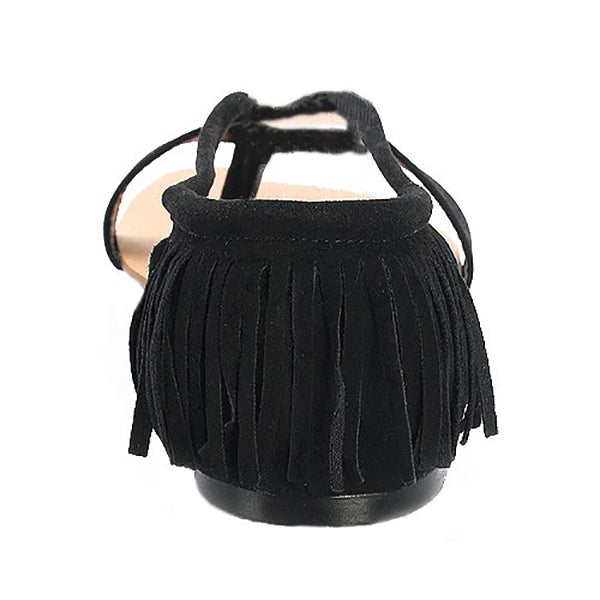NOYA Fringe Sandals in Black at FLYJANE | Cute Cheap Sandals | Black Flats | Black Sandals | Thong Sandals | Black Fringe Flat Sandals | Cute Sandals under $25 | Shop FLYJANE on Instagram