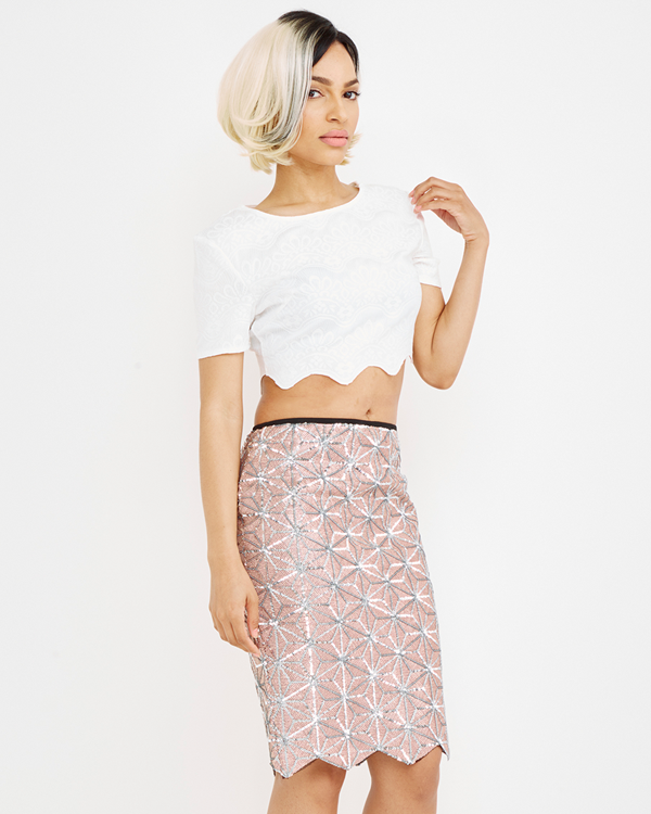 Endless Rose | CALCULATED FABULOUS Sequin Skirt in Pink at FLYJANE