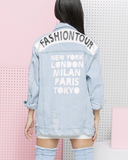 FASHION TOUR Oversized Jean Denim Jacket at FLYJANE | Light Denim Oversized Fashion Tour Denim Jacket Paris London Milan Tokyo New York | Oversized Denim Jacket