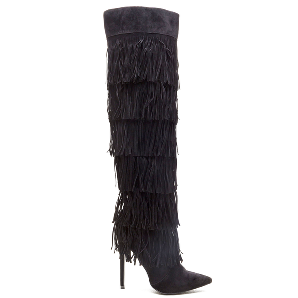 RENAISSANCE Fringe Over the Knee Boot in Black at FLYJANE | Jeffrey Campbell Go-Lightly Fringe Boot | Black Fringe Boots | Fall Fashion | Sexy Thigh High Boots