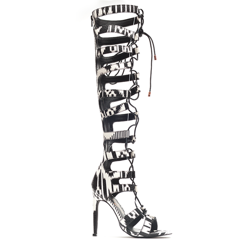 Privileged FIGHTER Lace Up Knee High Gladiator Boots in White Black at FLYJANE