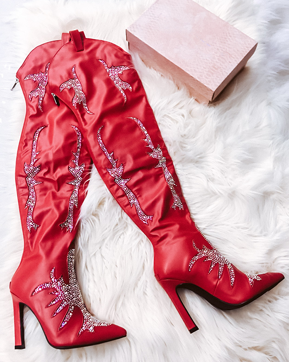 SUPERSTAR Thigh High Boot in Red at FLYJANE | Red Jeweled Cowgirl Thigh High Boot at ShopFlyJane.com