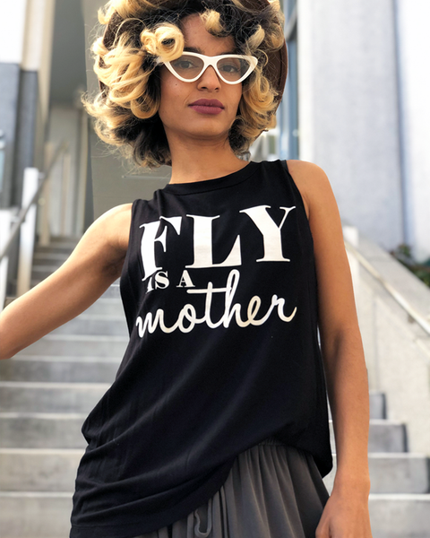 FLY AS A MOTHER Cut Off Tank Tee in White at FLYJANE | Black Cutoff Stretch T-shirt with the Words FLY AS A MOTHER in White Block Font | Cute Statement Tees for Layering at ShopFlyJane.com