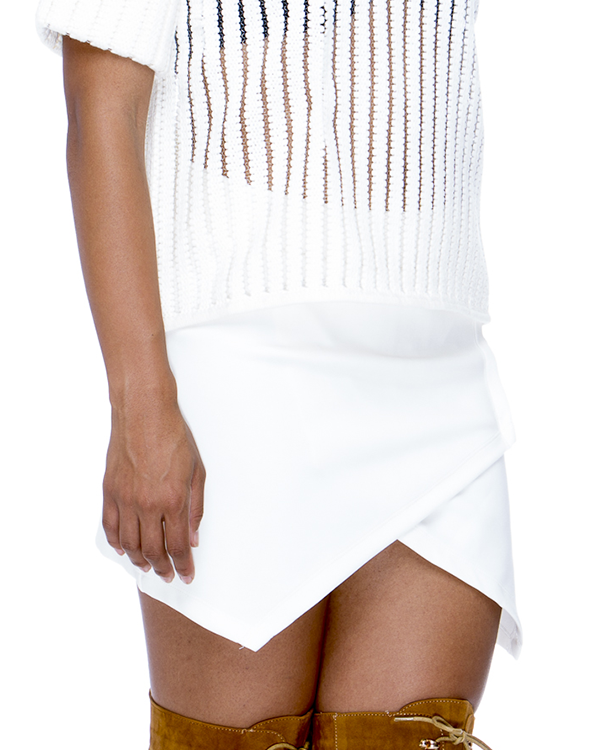 MILA Knit Wrap Skirt in Beige at FLYJANE