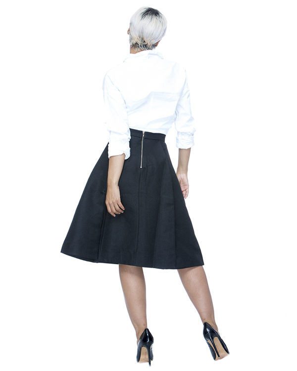 STARLET Aline Midi Skirt in Black at FLYJANE