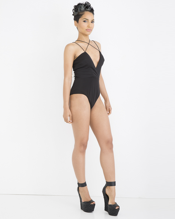 DOUBLE CROSSER Bodysuit in Black at FLYJANE | Great for wearing with dress pants | Bodysuits