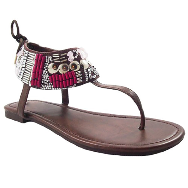 GATACA Beaded Thong Sandal in Brown at FLYJANE | Brown Beaded Thong Sandals | Brown Flats | Brown Sandals | Cheap Sandals | Sandals under $25