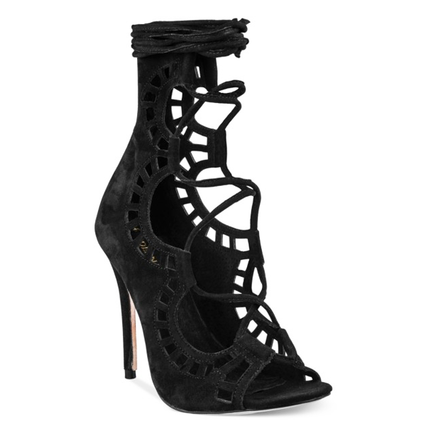 Modern Vice Ghillie Lasercut Sandal in Black Suede at FLYJANE