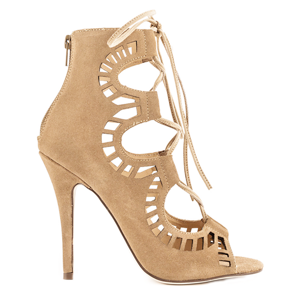 Modern Vice Ghillie Lasercut Sandal in Nude Suede at FLYJANE