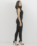 LACED UP PLUNGLING JUMPSUIT - BLACK