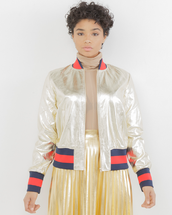 THE GLO UP METALLIC BOMBER JACKET