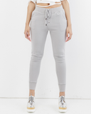 TIE'S THE LIMIT LACE UP SWEATPANT - GREY