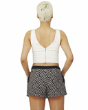 Guilty Vice Beaded Shorts in Black White at FLYJANE