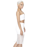 OFF THE GRID Pencil Skirt in White at FLYJANE