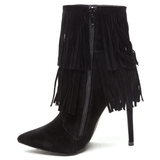 FULL SWING Fringe Faux Suede Bootie in Black at FLYJANE | Shoe Republic LA XIRA Fringe Bootie in Black | Fall Festive Shoes and Booties | Fringe Boots Booties