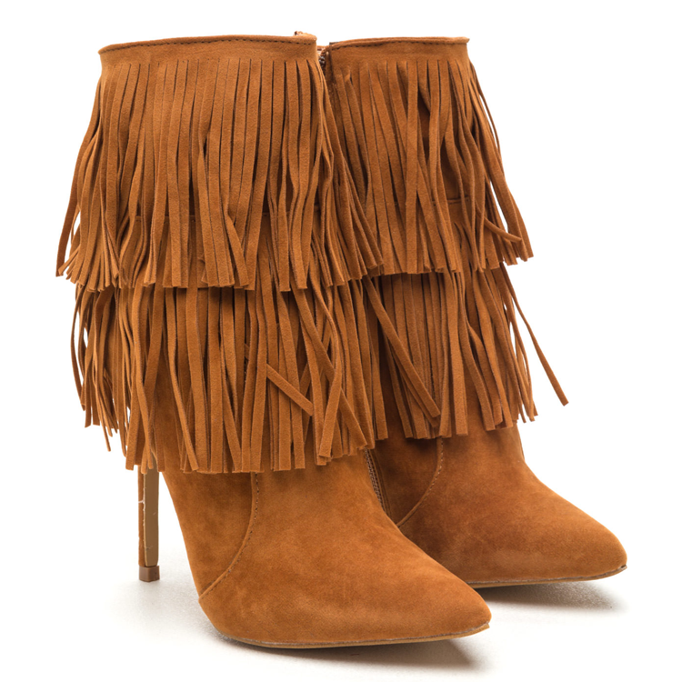 FULL SWING Fringe Faux Suede Bootie in Chestnut Tan at FLYJANE | Shoe Republic LA XIRA Fringe Bootie | Fall Festive Shoes and Booties | Fringe Boots Booties