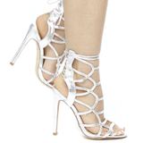 IMENA Caged Cracked Metallic Cutout Sandal in Silver at FLYJANE | Prom Shoes | Silver Metallic Cutout Heels | Silver Open Toe Heel | Follow Us on Instagram @Fly...
