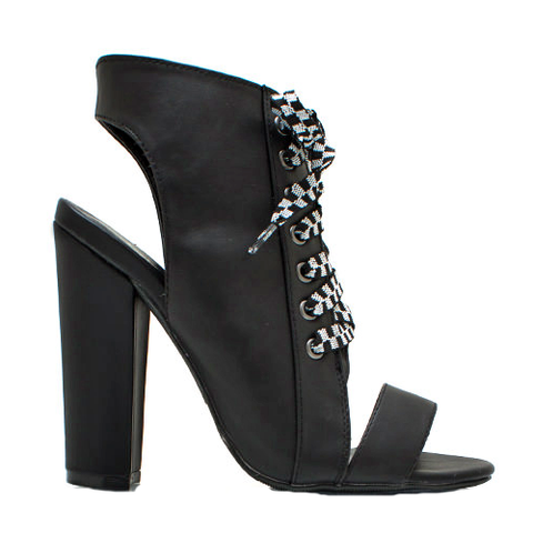 Qupid Immortal-34 Lace Up Bootie in Black at ShopFlyJane.com