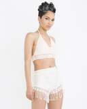 INDIO VIBES Crochet Fringe Shorts Set in Taupe at FLYJANE | Festival Outfits | Summer Fashion | Hippie Clothes | Fringe Shorts | Crochet Outfits