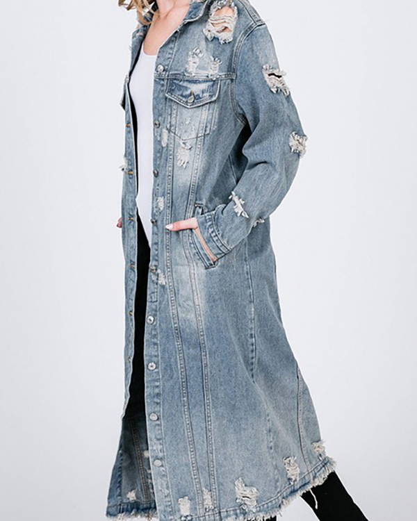 TORO Distressed Long Denim Jacket at FLYJANE | Deconstructed Oversized Distressed Long Denim Jacket | Cute Statement Jacket at ShopFlyJane.com