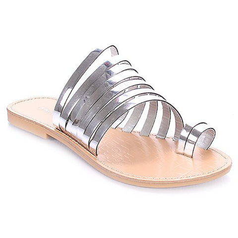 Shop the TUUMI Metallic Flat Sandals in Silver at FLYJANE | Cute Silver Sandals | Silver Slides | Metallic Sandals | Cute Sandals under $25 | Shop FLYJANE on Instagram