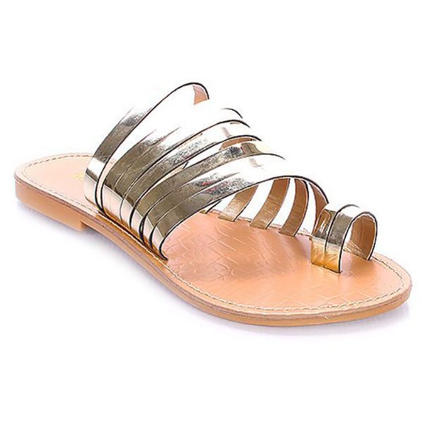 c9c91e6a6742 TUUMI Metallic Flat Sandals in Gold at FLYJANE