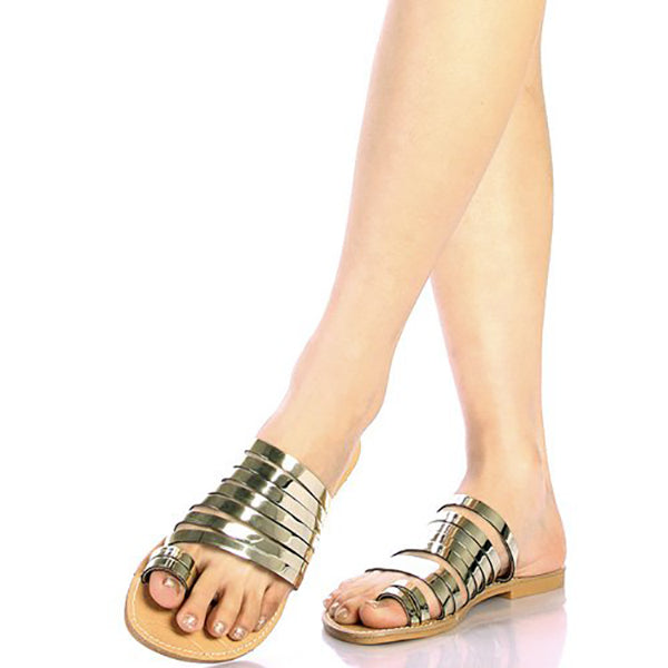 TUUMI Metallic Flat Sandals in Gold at FLYJANE | Cute Gold Sandals | gold Slides | Metallic Sandals | Cute Sandals under $25 | Shop FLYJANE on Instagram