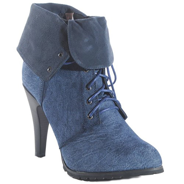 New JOIE Utility Bootie by FLYJANE.. Think Distressed Look with a short heel. Rugged Platform Ankle Booties | Faux Suede Distressed Booties | Blue Boots | Super cute for FALL | Fall Fashion 2018