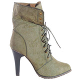 New JOIE Distressed Utility Bootie by FLYJANE.. Think Distressed Look with a short heel.  Super cute for FALL | Fall Fashion 2018 | Green Granny Boots | Olive Green Platform Utility Boots