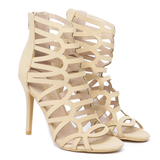 JULIANNA Cutout Heel in Camel at FLYJANE | Lasercut Open Toe Booties | Nude Cutout Booties | Nude Heels | Nude Cutout Heels |