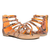 ORIEL Studded Snake Print Gladiator Sandals in Orange Python at FLYJANE | Cute Thong Sandals | Orange Sandals | Orange Thong Sandals | Orange Studded Sandals | Cute Sandals under $25 | Shop FLYJANE on Instagram