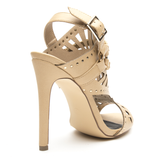 ISOUL Studded Gladiator Sandals in Beige at FLYJANE | Nude Gladiators| Studded Designer Gladiators | FLYJANE | Liliana VINCE Gladiator Sandal in Beige