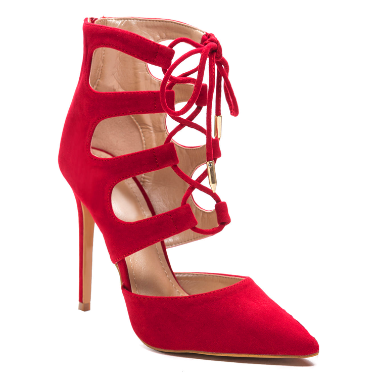FOXXI Lace Up Bootie in Red at FLYJANE