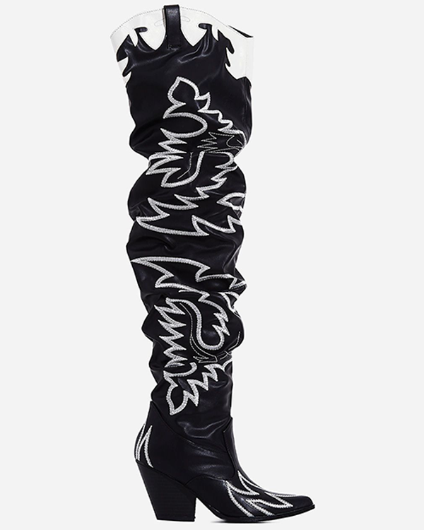 KYLIE Embroidered Western Cowgirl Thigh High Boot at FLYJANE | Cowboy Thigh High Boots | Black and White Cowboy Boots