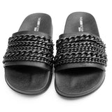LALA Chained Slides in Black at FLYJANE at FLYJANE | Black Matte Chained Sandals | Cute Beach Slides