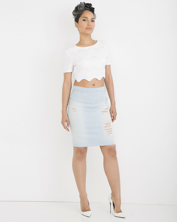 IM SO FADED Denim Skirt FLYJANE | Beyonce Denim Pencil Skirt | Kylie Jenner Denim Pencil Skirt | Rihanna Denim Pencil Skirt | Kim Kardashian Denim Pencil Skirt