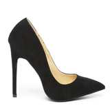 LEILA Suede Classic Pump in Black Suede at FLYJANE | Jimmy Choo Nude High Heel Pump | Classic Pointed Toe Pump | Kim Kardashian Designer Black Heels Black Pumps