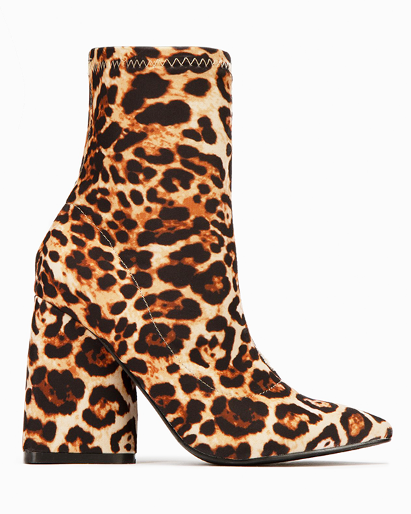 BIG ROAR Leopard Print Sock Bootie at FLYJANE | Cute Little Leopard Print Animal Print Stretch Sock Ankle Boot Bootie | Comfy and Low Heel | Great for Winter | Be Stylish this Winter with New Booties at FLYJANE