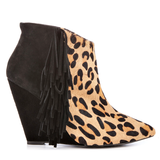 Betsey Johnson ZIAH-P Fringe Ankle Boot in Leopard Pony available at shopFLYJANE.com