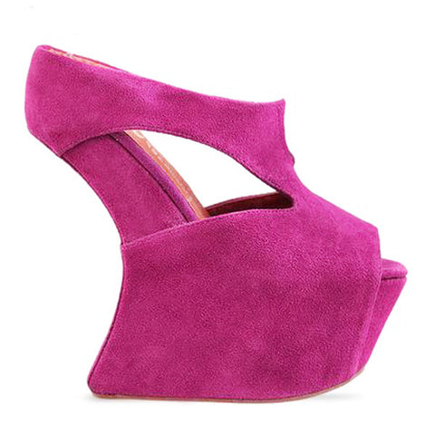Jeffrey Campbell TONITE Heelless Wedge in Fuchsia Suede available at ShopFLYJANE.com