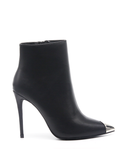 LORINA Stiletto Bootie in Black | FLYJANE | Black Ankle Bootie with Silver Toe Cap | Ankle Bootie in Black | Silver Cap Bootie | Stiletto Ankle Boot in Black at ShopFlyJane.com