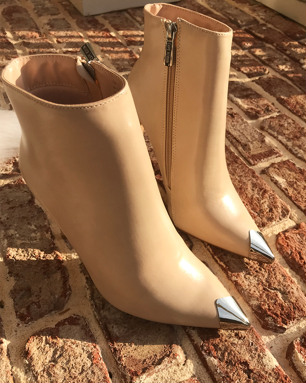 LORINA Stiletto Bootie in Nude | FLYJANE | Nude Ankle Bootie with Silver Toe Cap | Ankle Bootie in Nude | Silver Cap Bootie | Stiletto Ankle Boot in Nude at ShopFlyJane.com