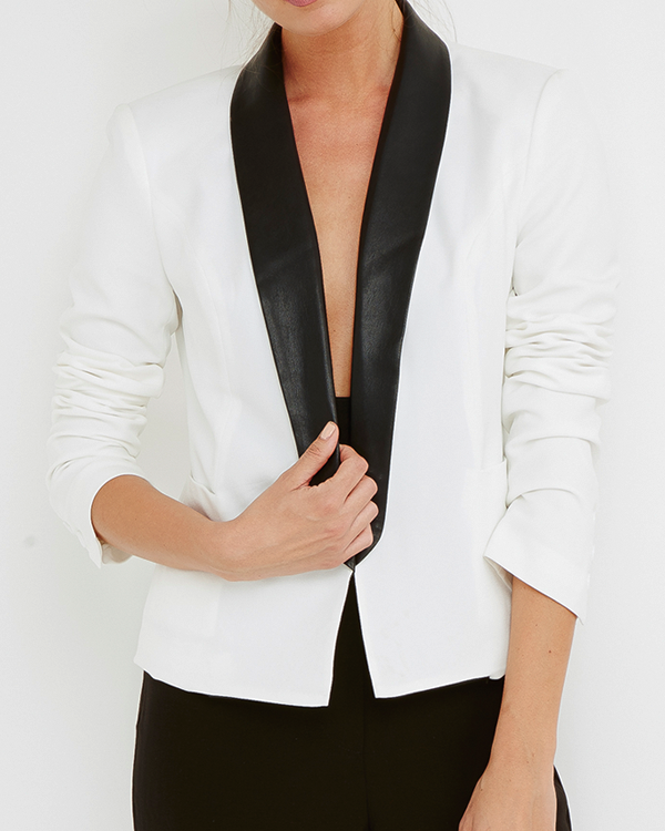 Ark & Co. THE OWN IT Tailored Blazer with Faux Leather Lapel at FLYJANE